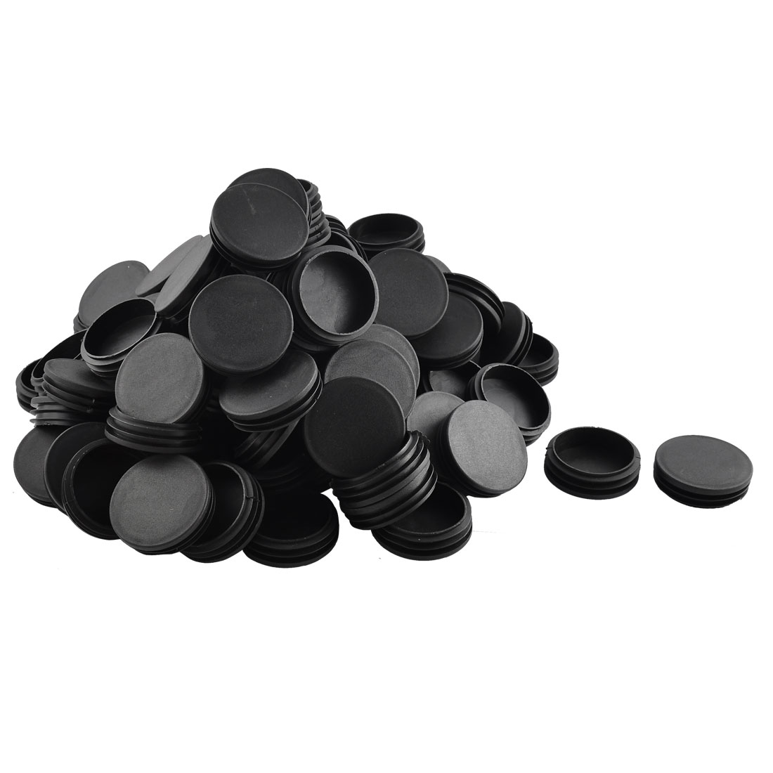 Plastic Round Shaped Table Chair Leg Feet Tube Insert Black 100 Pcs 6cm Diameter