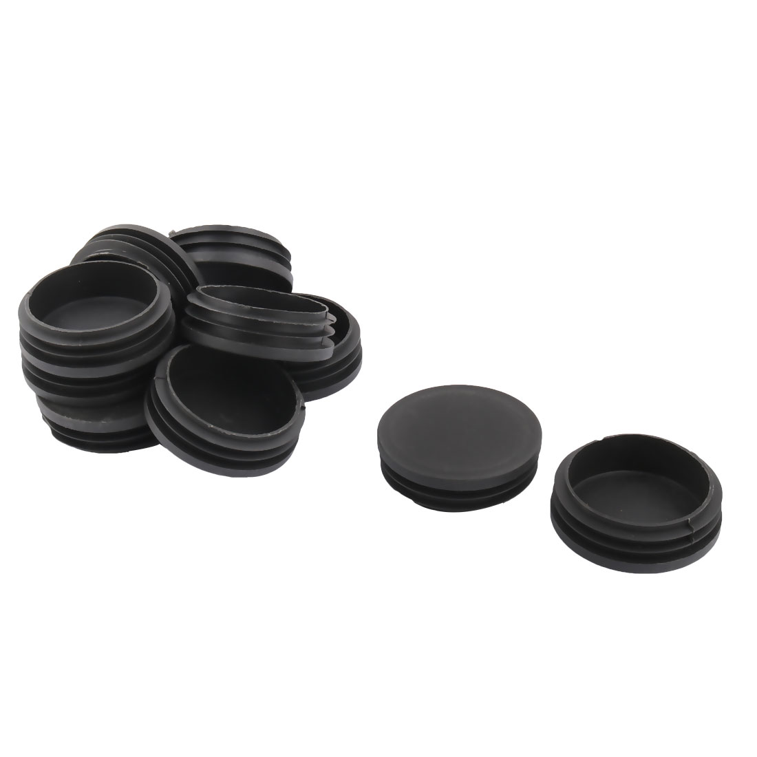 Desk Legs Plastic Round Design Tube Pipe Inserts End Blanking Caps Black 76mm Dia 10pcs