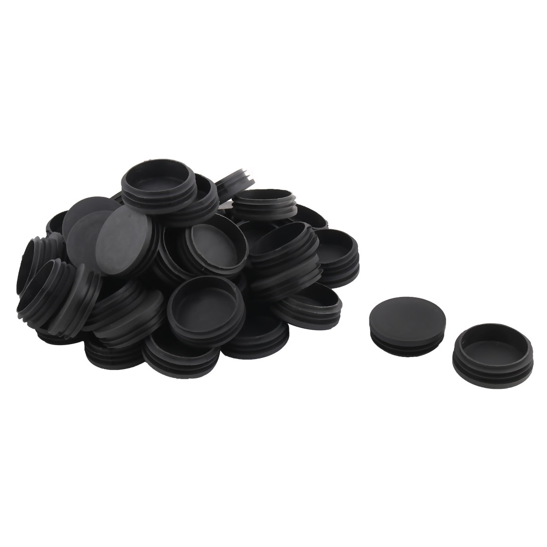 Desk Legs Plastic Round Design Tube Pipe Inserts End Blanking Caps Black 76mm Dia 50pcs