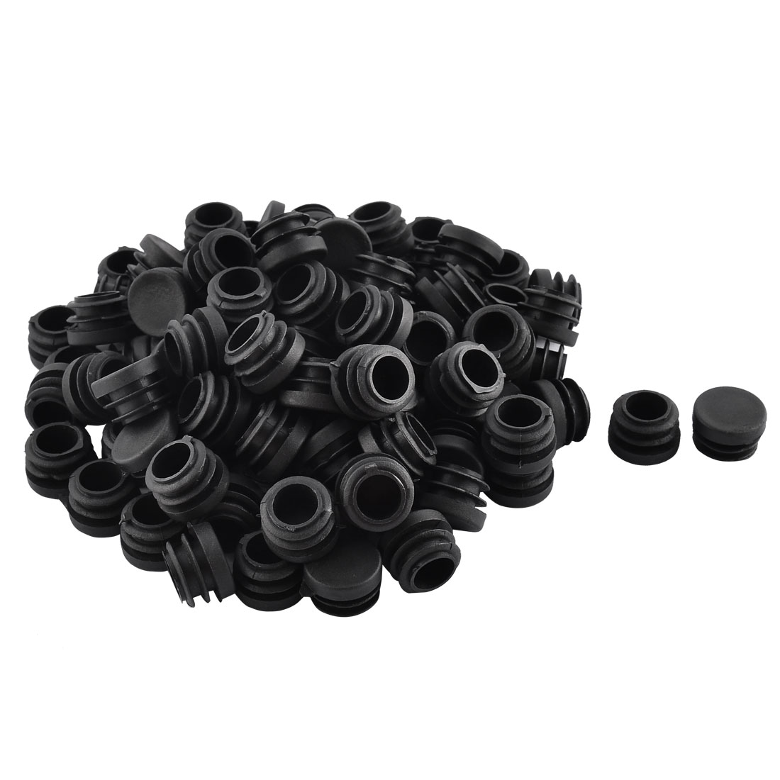 Home School Plastic Round Shaped Furniture Table Chair Leg Feet Tube Insert Black 100 Pcs