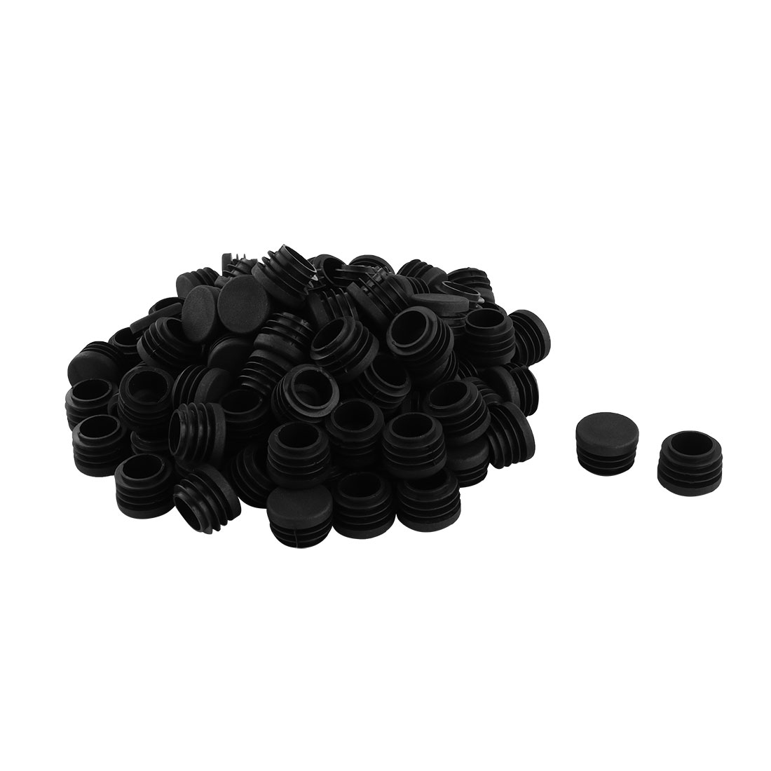Desk Legs Plastic Round Design Tube Pipe Inserts End Blanking Caps Black 25mm Dia 100pcs