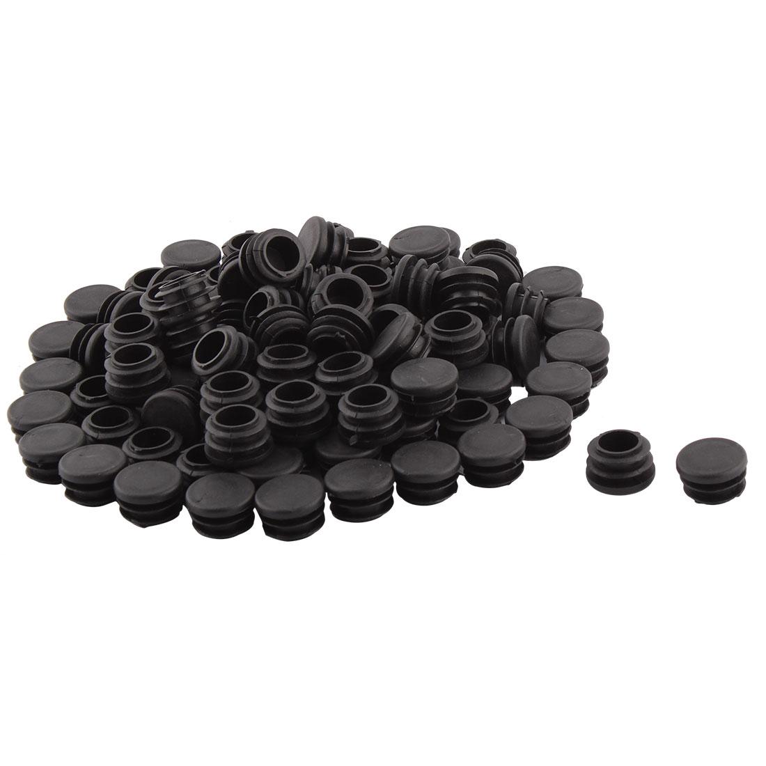 Hardware For Household Plastic Round Shaped Table Chair Leg Feet Tube Pipe Insert Black 22mm Dia 100 Pcs