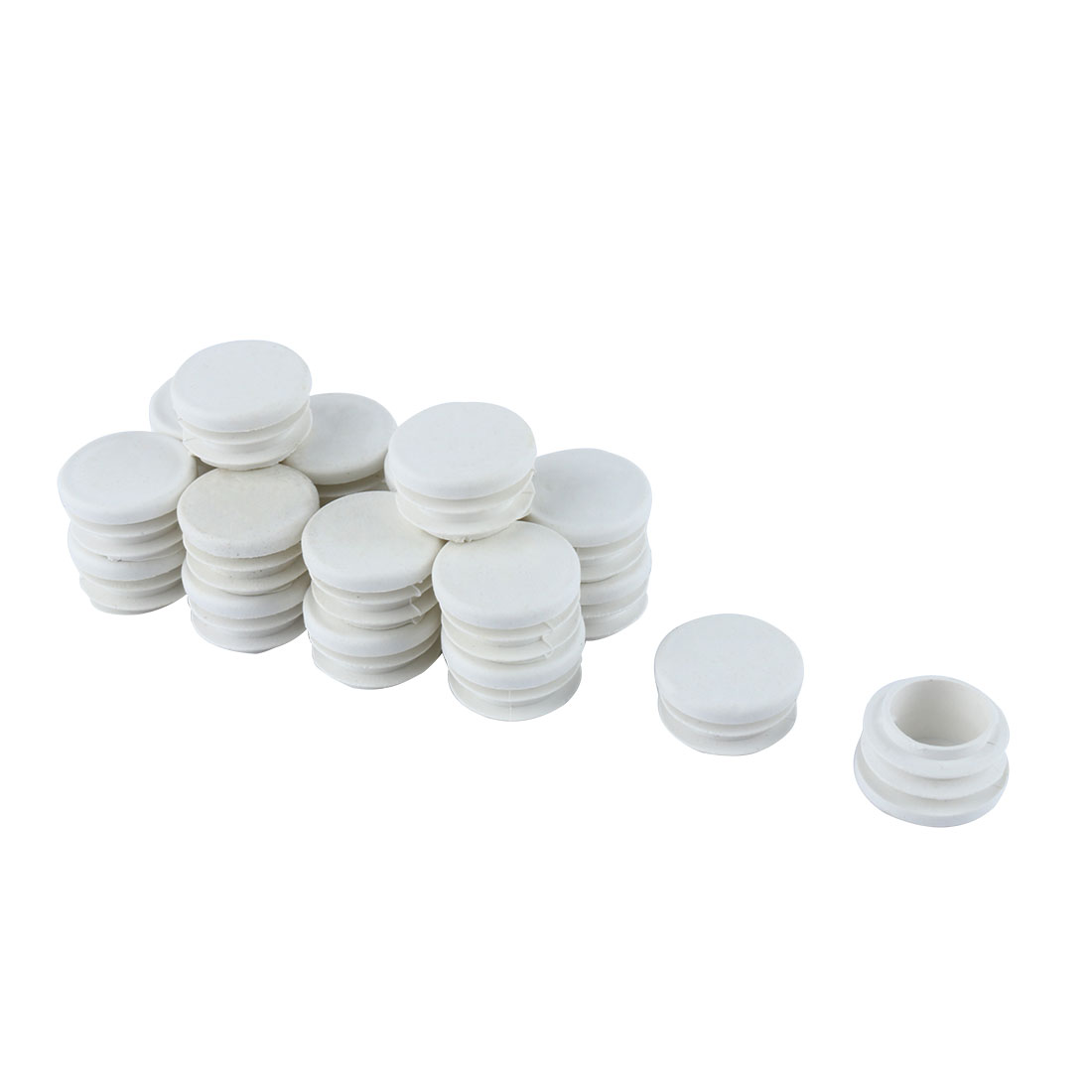 Desk Legs Plastic Round Design Tube Pipe Inserts End Caps White 28mm Dia 20pcs