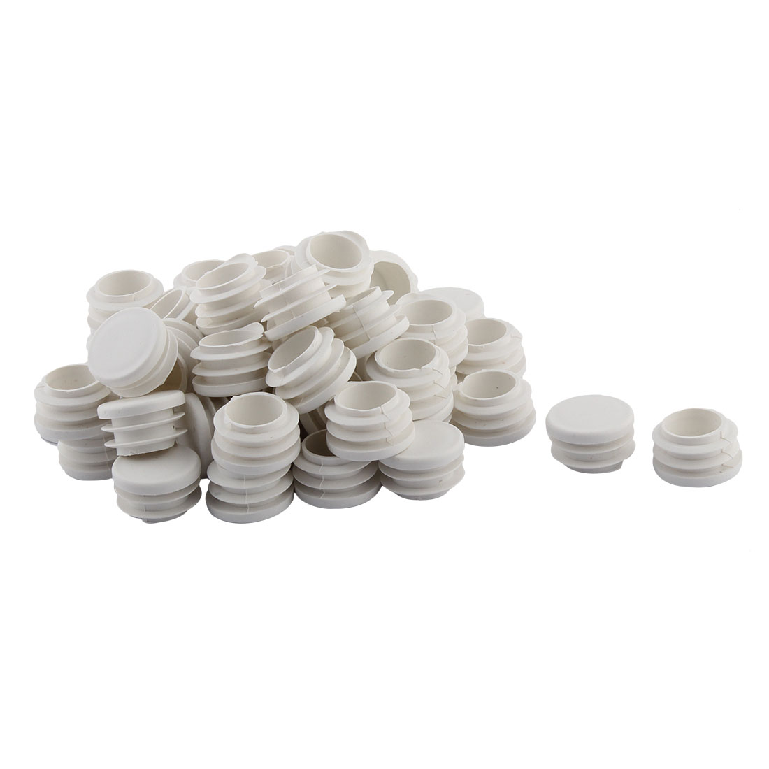 Home Office Plastic Round Shaped Table Chair Leg Tube Pipe Insert White 28mm Dia 50 PCS