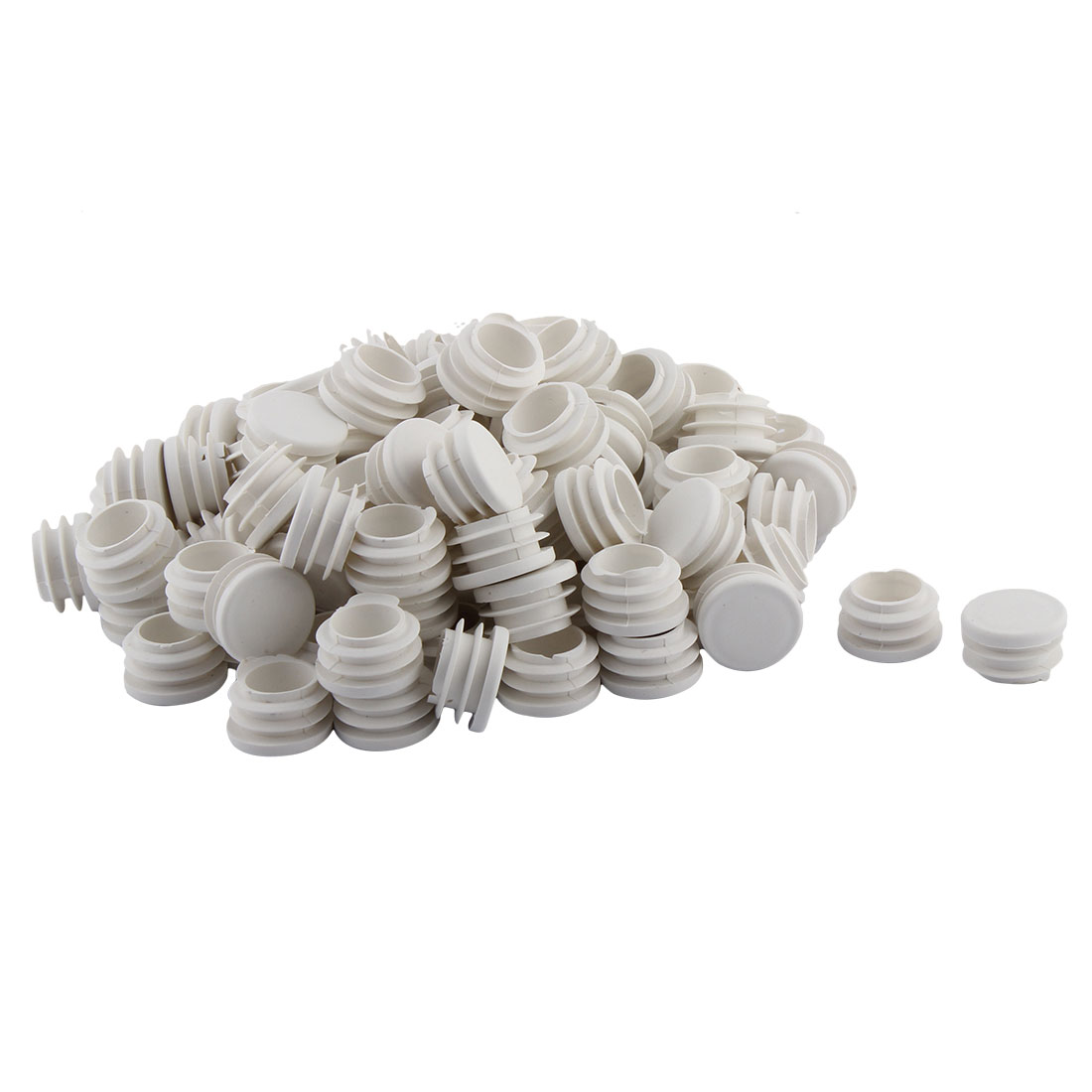 Home Office Plastic Round Shaped Table Chair Leg Tube Pipe Insert White 28mm Dia 100 PCS