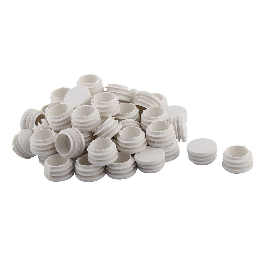 Home Office Plastic Round Shaped Table Chair Leg Feet Tube Pipe Insert White 32mm Dia 50 PCS