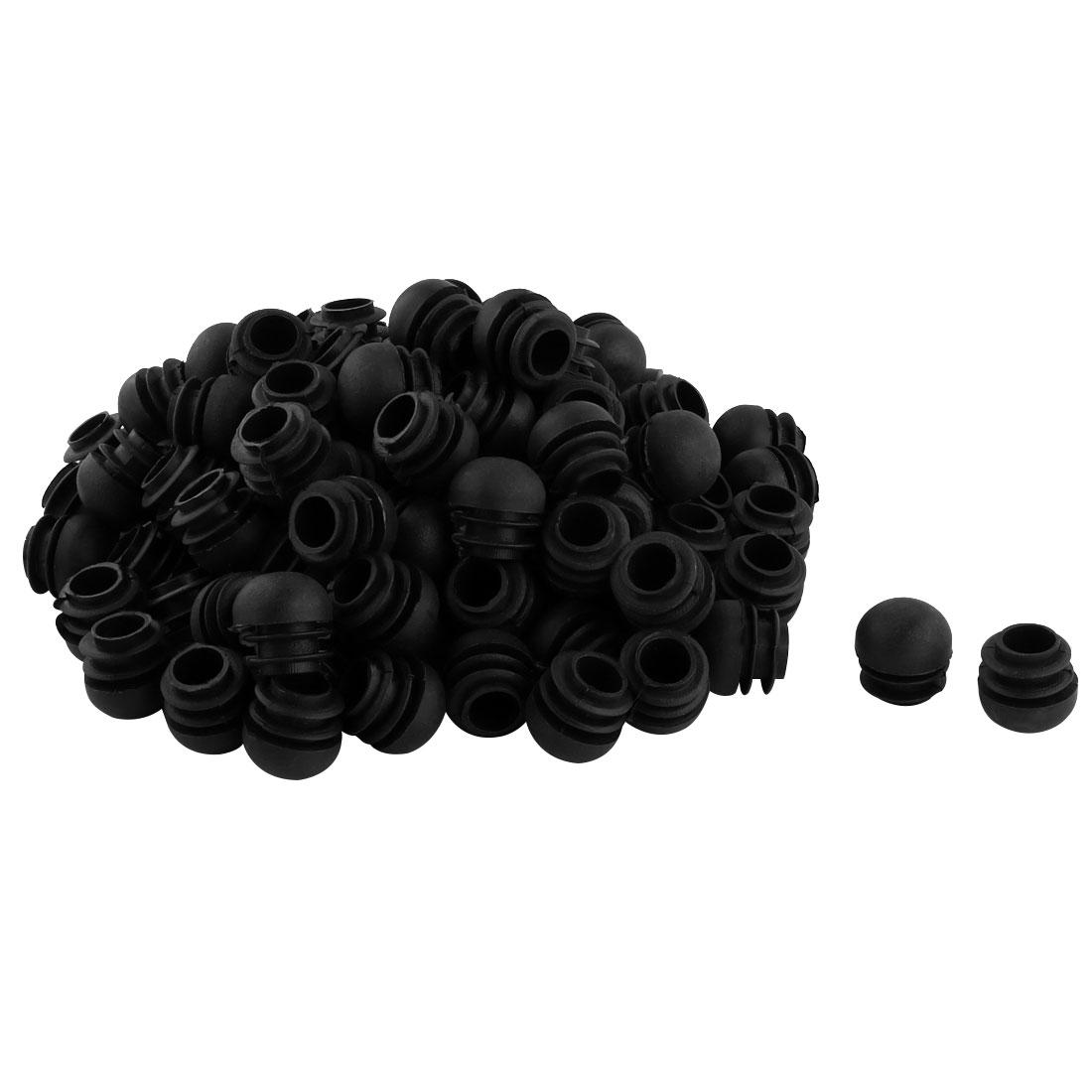 Plastic Round Ribbed Tube Inserts End Blanking Caps Black 22mm Diameter 100 Pcs