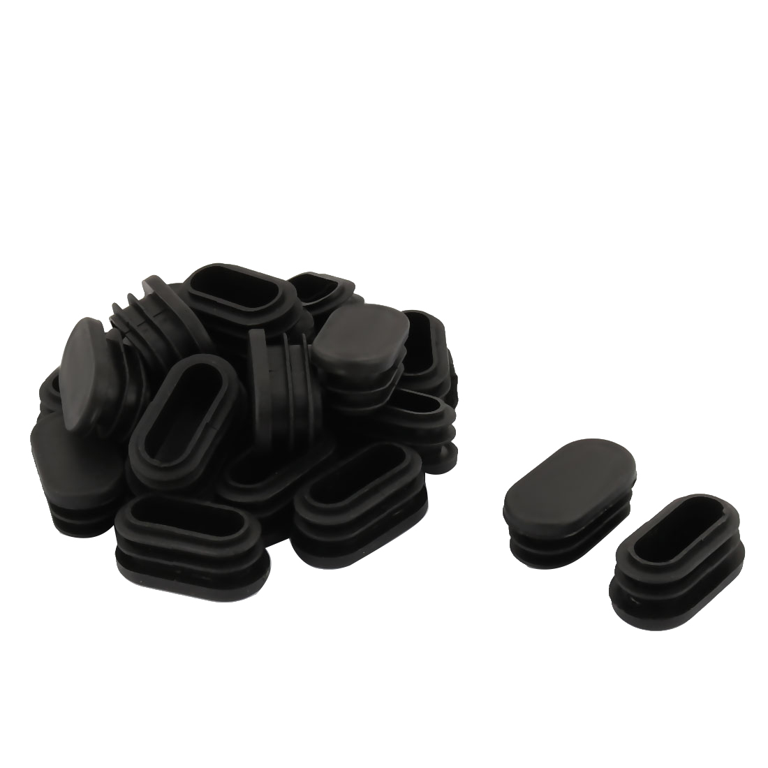 Plastic Oval Design Tube Insert End Blanking Cover Cap Black 40 x 20mm 20pcs