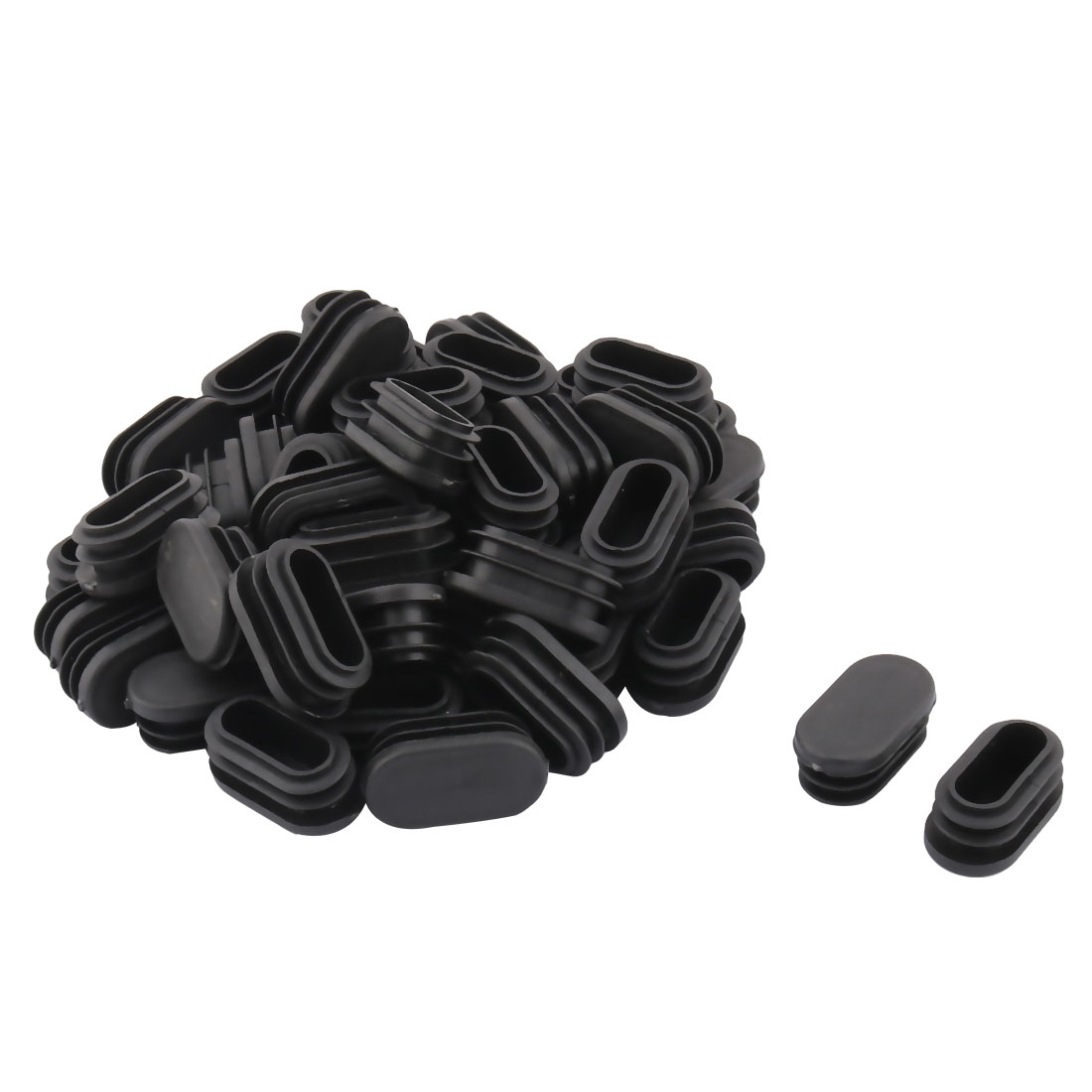 Plastic Oval Design Tube Insert End Blanking Cover Cap Black 40 x 20mm 50pcs