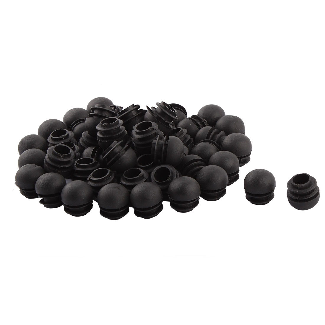 Home Office Plastic Round Shaped Table Chair Leg Feet Tube Pipe Insert Black 22mm Dia 100 PCS