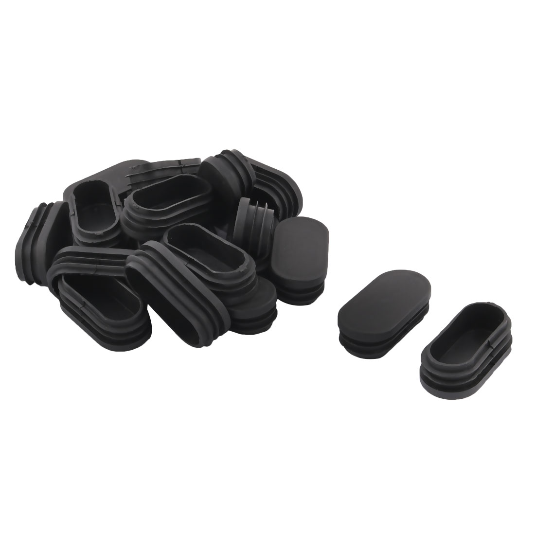 Plastic Oval Design Tube Insert End Blanking Cover Cap Black 60 x 30mm 20pcs