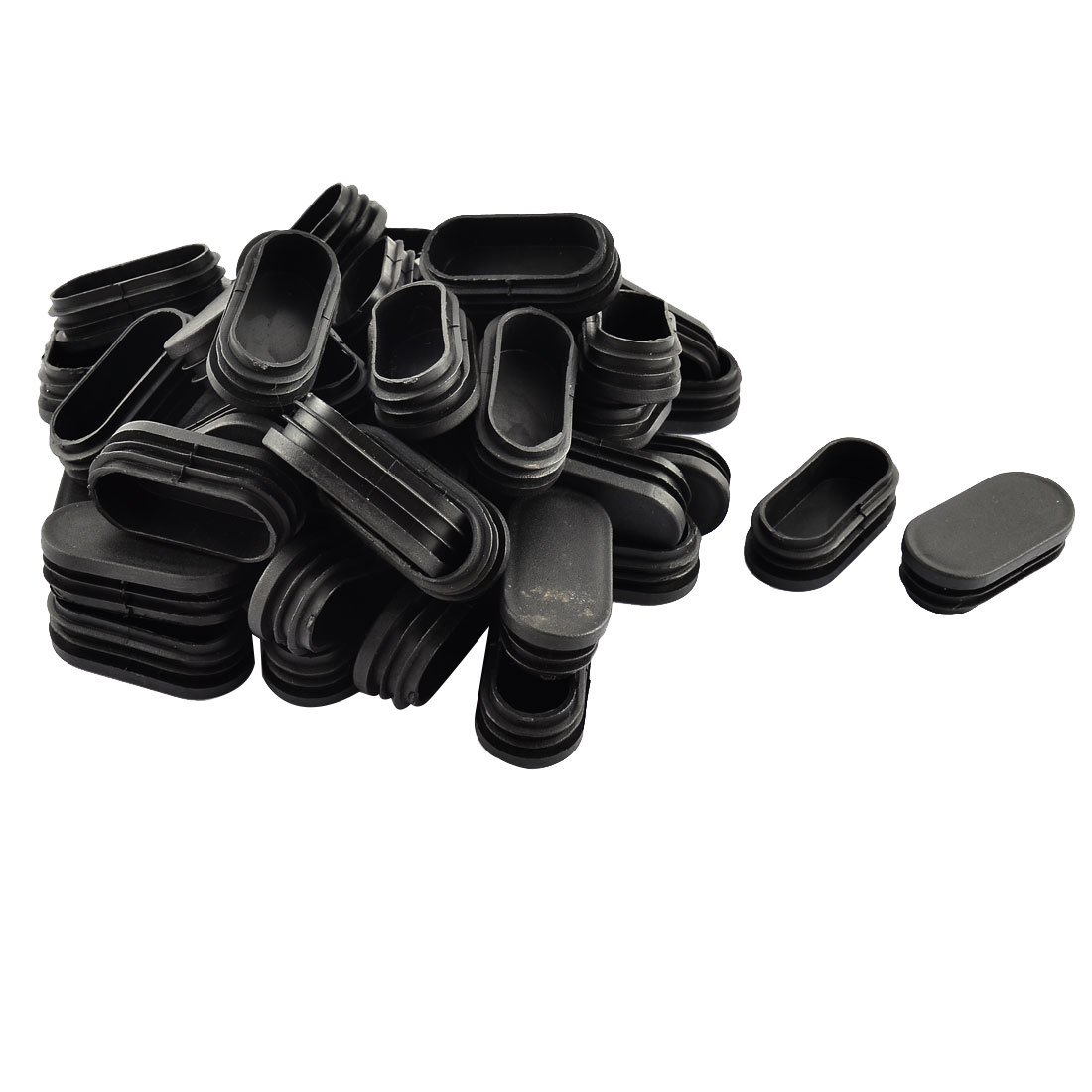 Home Floor No Scratch Protection Plastic Chair Leg Pipe Tube Insert Black 50pcs