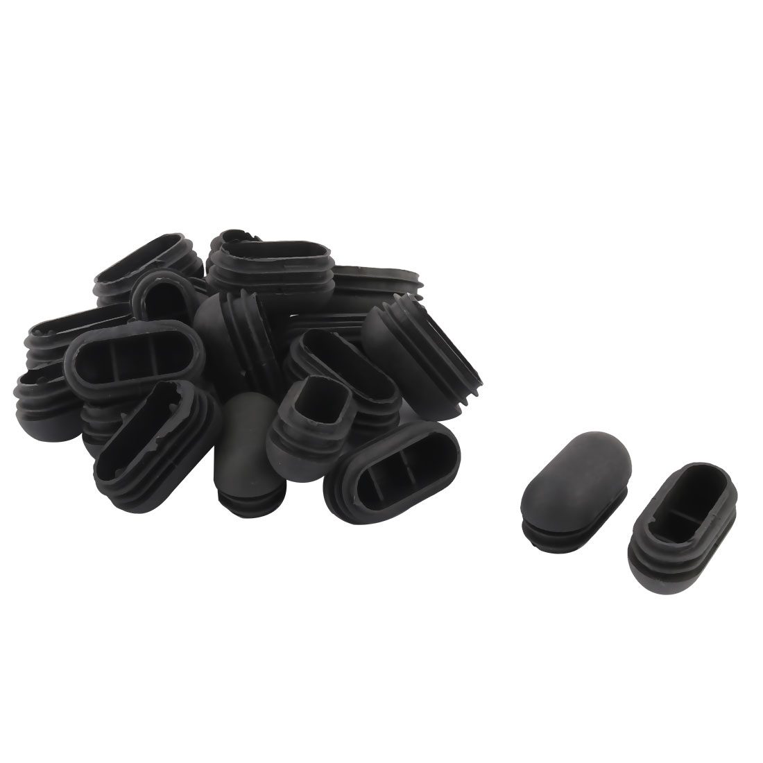 Plastic Oval Design Tube Insert End Blanking Cover Cap Black 50 x 25mm 20pcs
