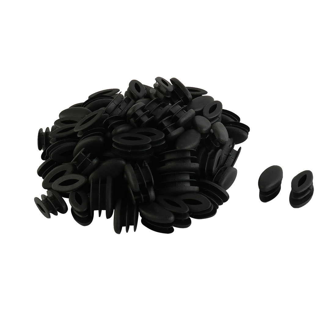 Home School Plastic Oval Shaped Table Chair Leg Feet Tube Insert Black 100 Pcs