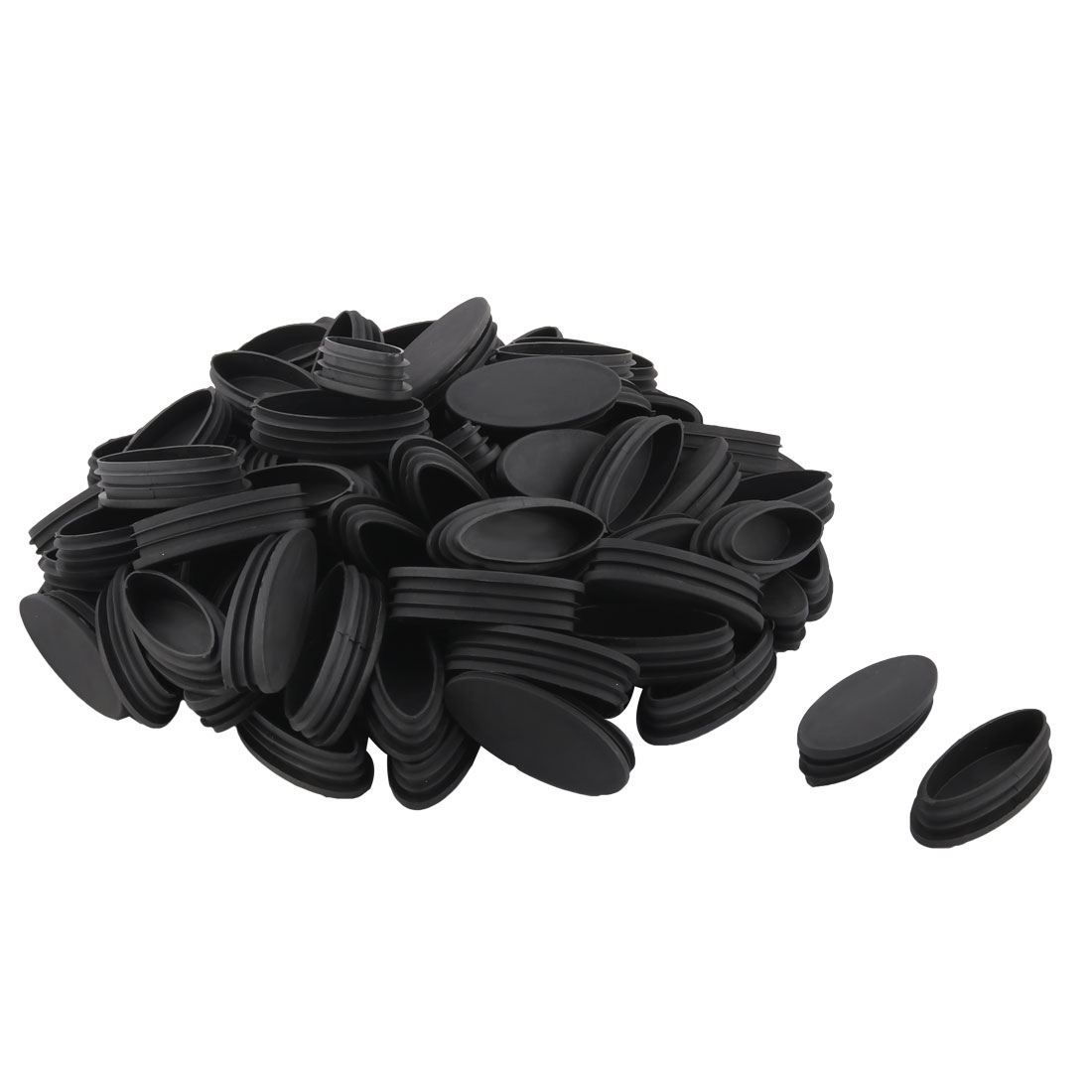 Plastic Oval Design Tube Insert End Blanking Cover Cap Black 80 x 35mm 50pcs