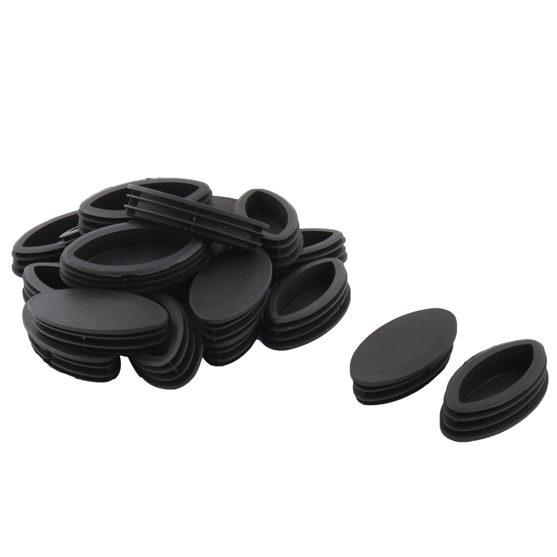 Plastic Oval Design Tube Insert End Blanking Cover Cap Black 100 x 50mm 20pcs