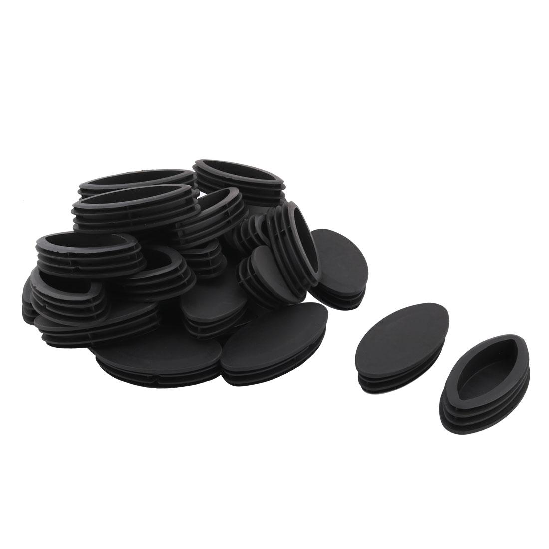 Plastic Oval Design Tube Insert End Blanking Cover Cap Black 100 x 50mm 30pcs