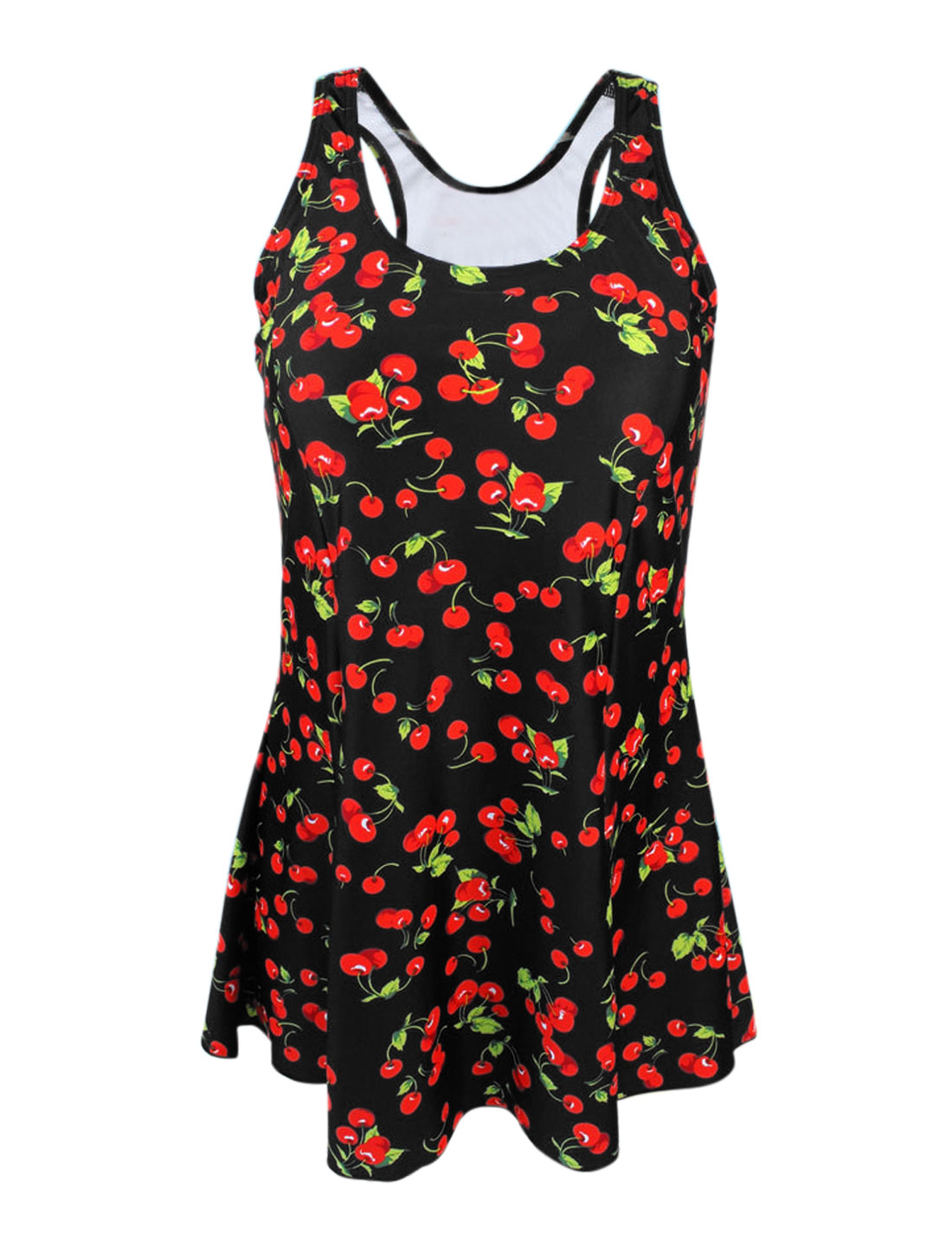Women Vintage One Piece Cherry Slim Bathing Suit Swimsuit Swimdress US 8 Cover Up