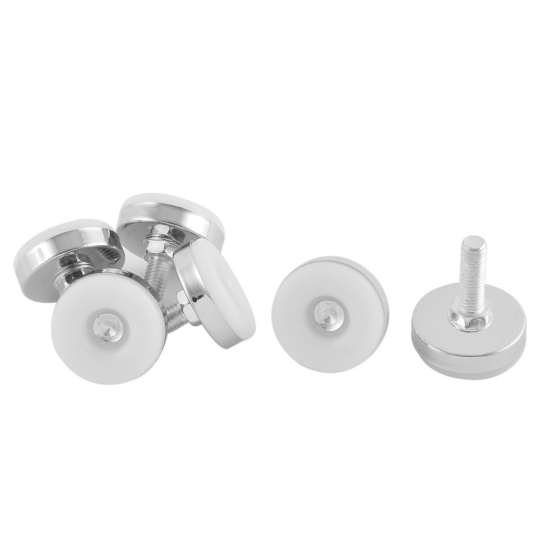 Home Office Adjustable Furniture Glide Leveling Feet White Silver Tone 8mm Thread Dia 6 Pcs