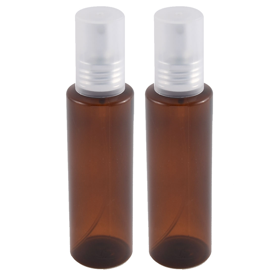 Traveling Plastic Shampoo Cosmetic Emulsion Press Pump Spray Bottle Brown 100ml 2pcs