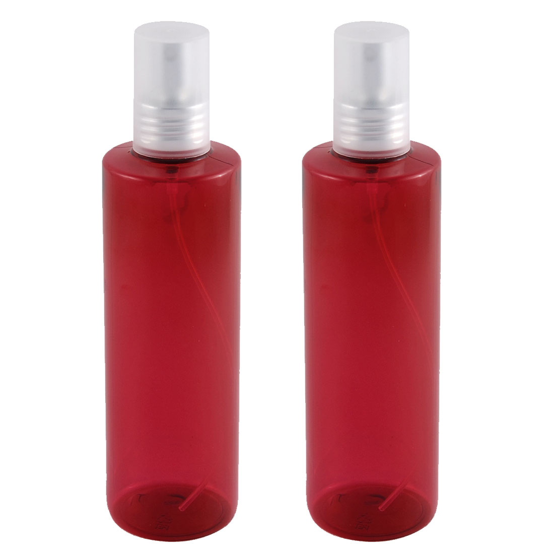 Traveling Plastic Shampoo Cosmetic Emulsion Press Pump Spray Bottle Red 250ml 2pcs