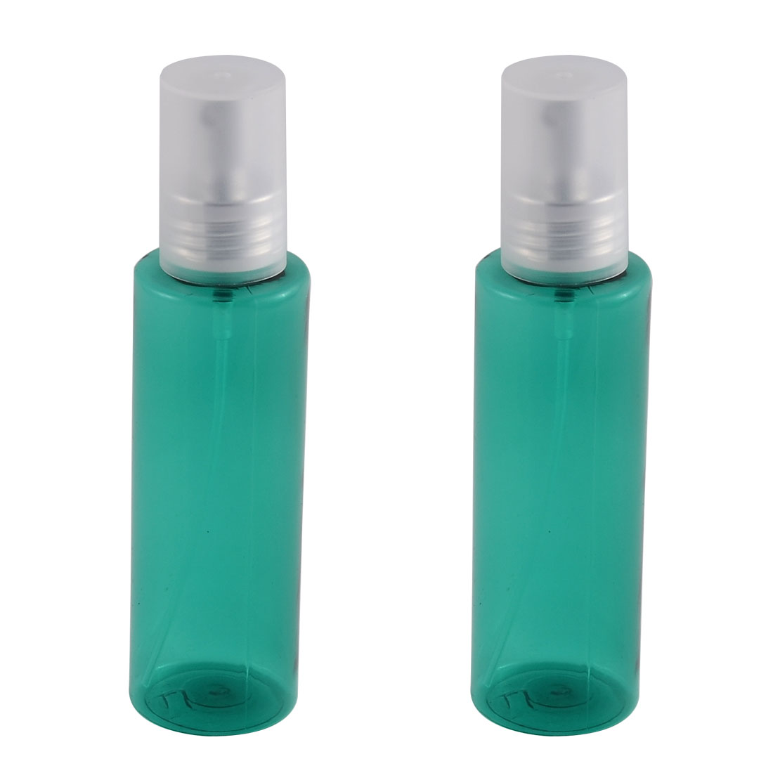 Traveling Plastic Shampoo Cosmetic Emulsion Press Pump Spray Bottle Green 100ml 2pcs