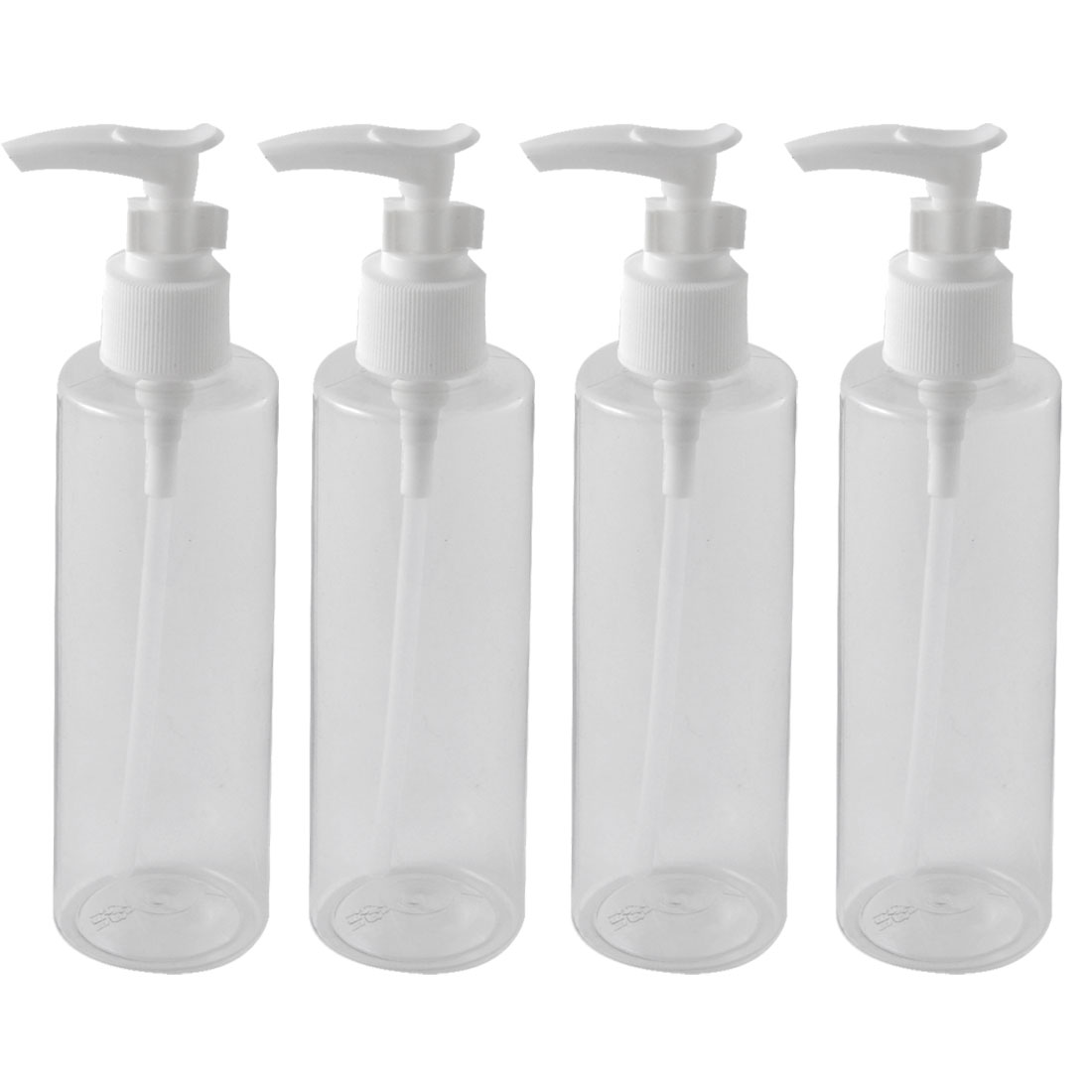 Traveling Woman Plastic Shampoo Cosmetic Emulsion Spray Press Bottle Clear 200ml 4pcs