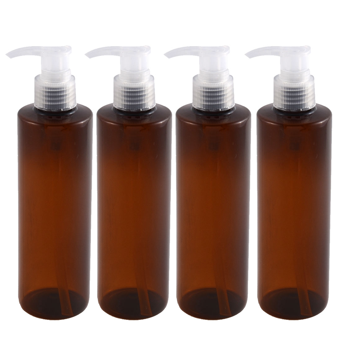 Traveling Woman Plastic Shampoo Cosmetic Emulsion Spray Press Bottle Brown 250ml 4pcs