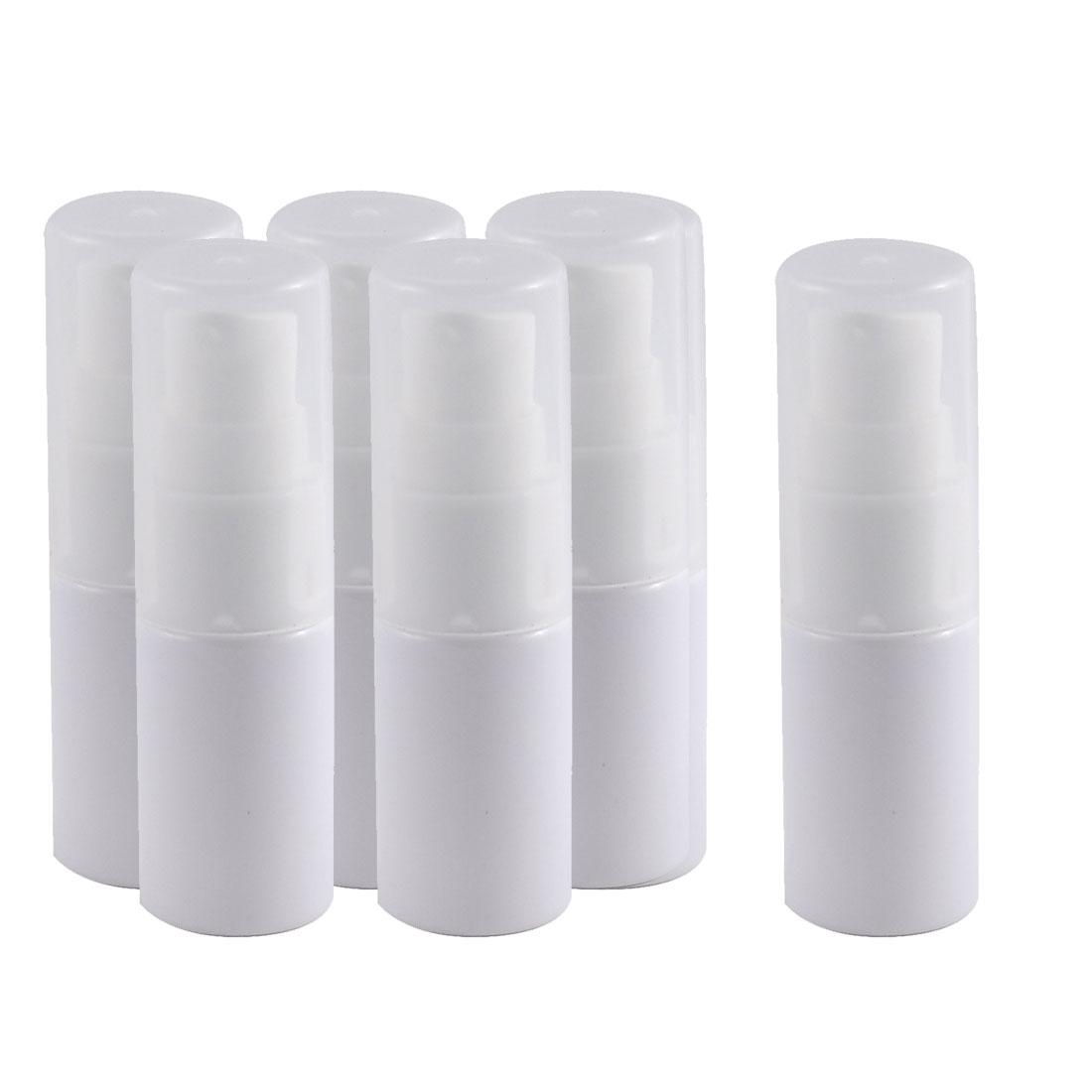 Travel Plastic Cosmetic Emulsion Press Pump Mist Spray Bottle White 10ml 6pcs