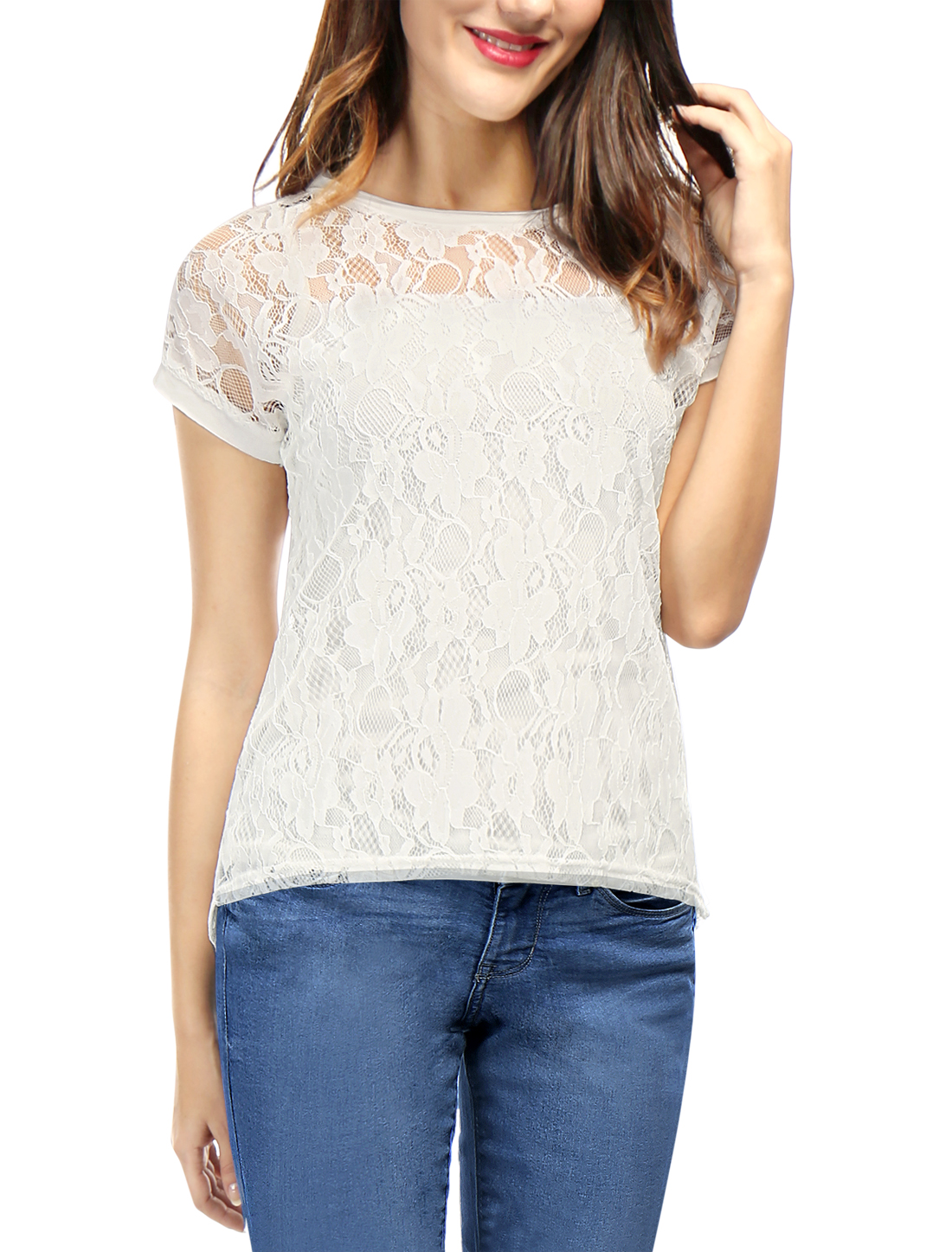 Women Curved Hem Sheer Short Sleeves Floral Lace Top White L