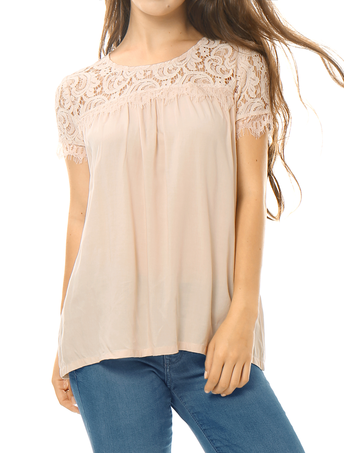 Women Lace Panel Upper Semi Sheer Yoke Short Sleeves Blouse Pink XS
