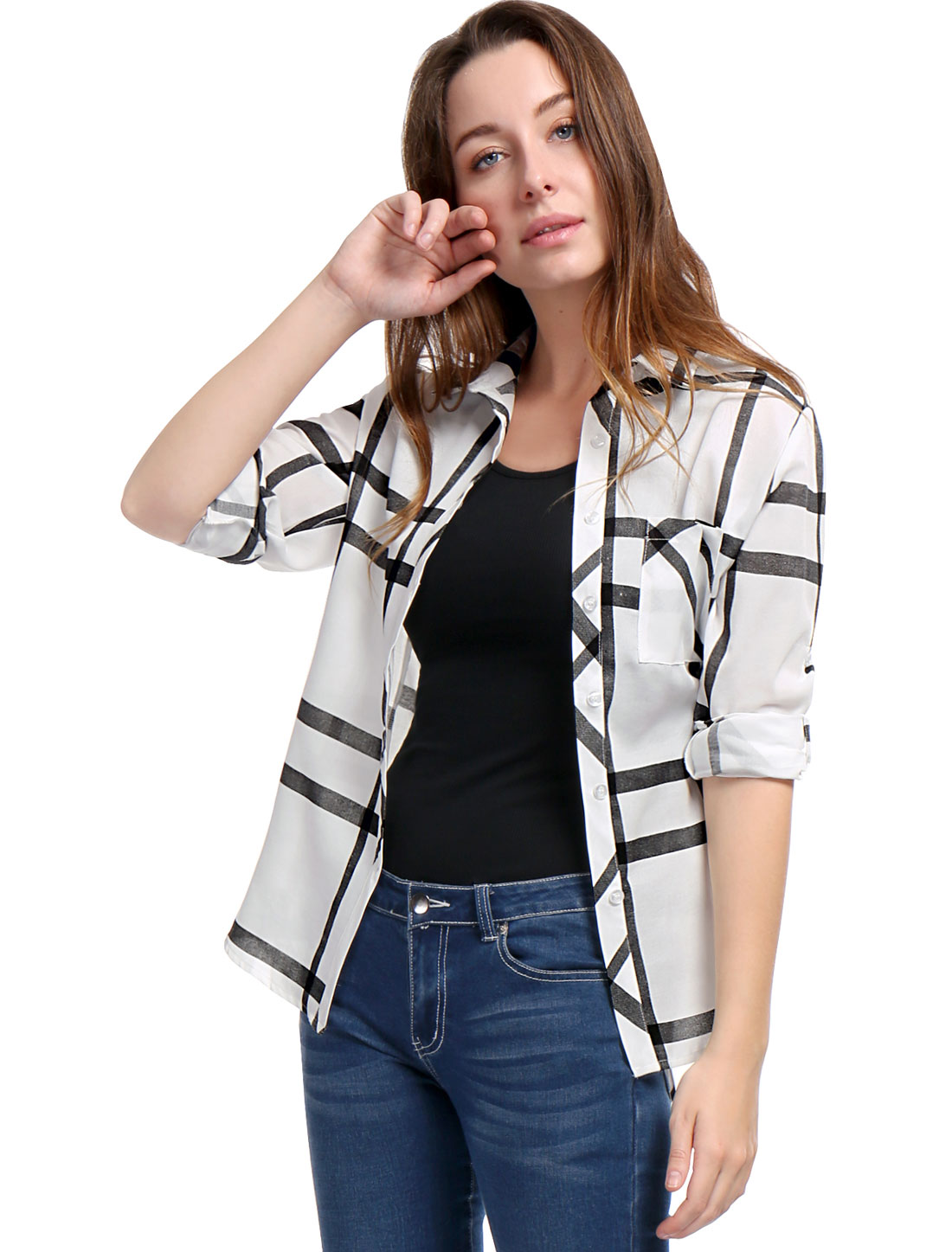 Women Roll Up Sleeves Buttoned Tunic Plaid Shirt Black L