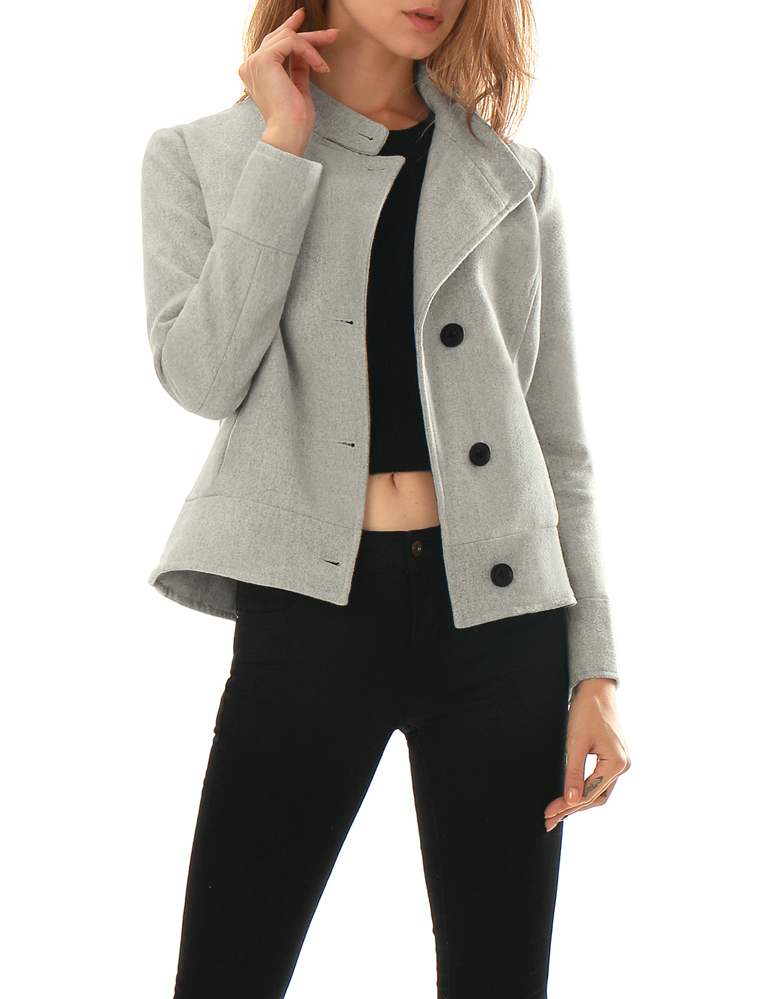 Women Convertible Collar Single Breasted Worsted Coat Gray XS