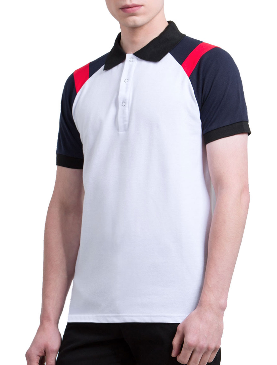 Men Contrast Color Short Raglan Sleeves Polo Shirt White M