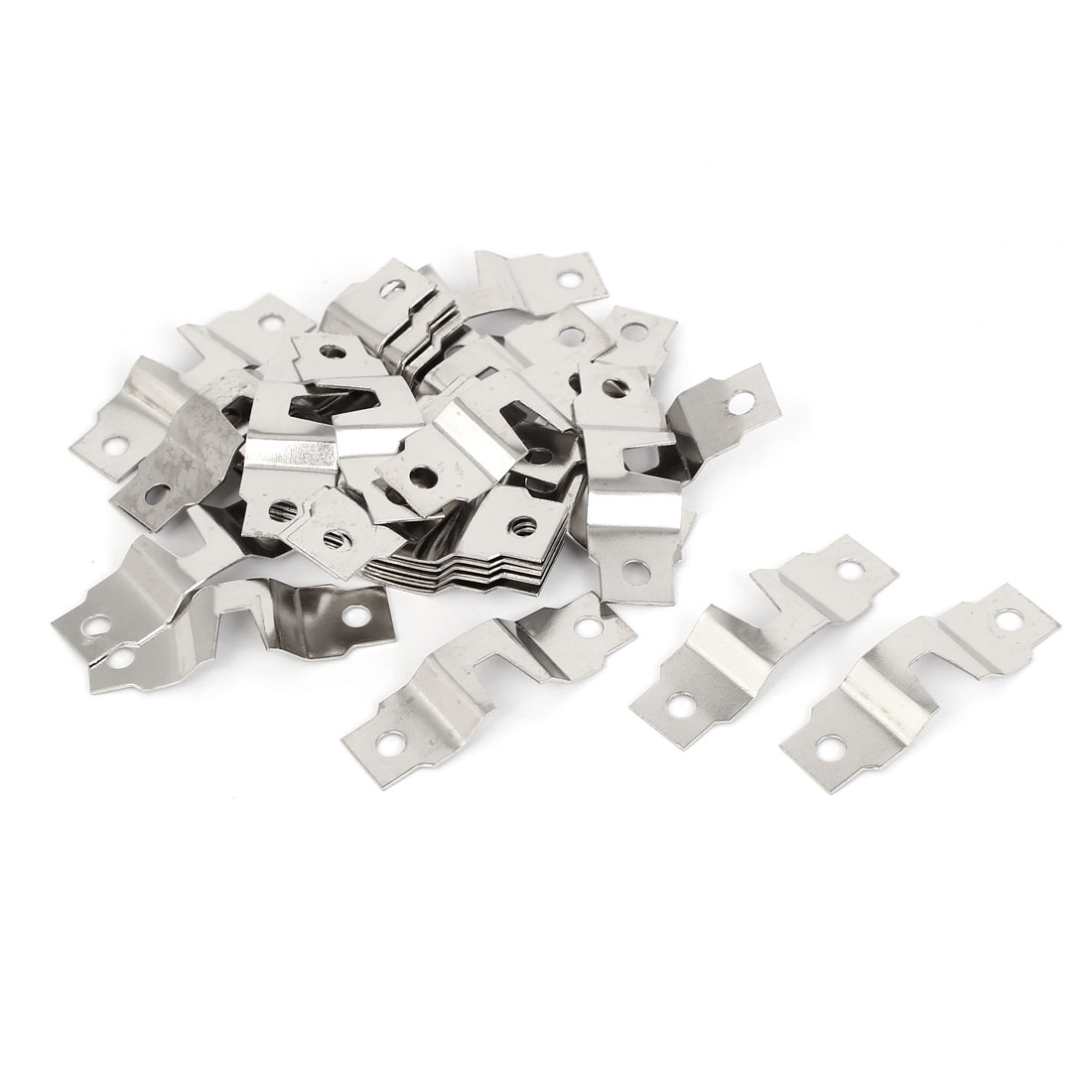 47mm x 15mm x 4mm Metal Double Hole Picture Frame Hanging Hooks Hangers 30PCS