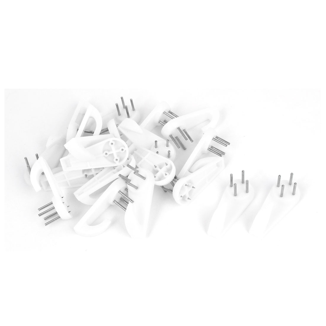 Household Plastic Wall Hook Hanger Seamless Nail White 20pcs for Picture Frame