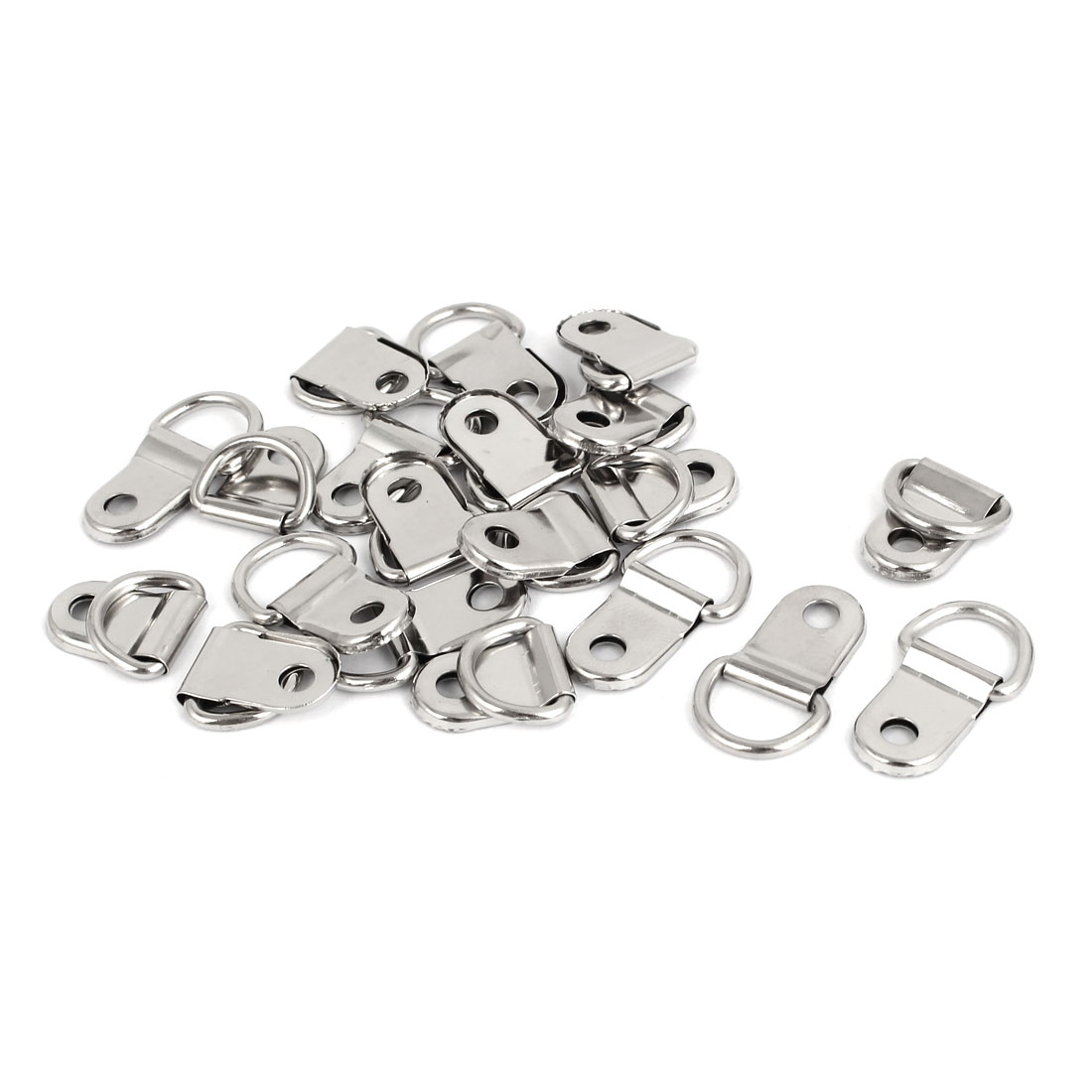 25mm x 15mm Single Hole D Ring Picture Frame Hangers Hooks w Screws 20PCS