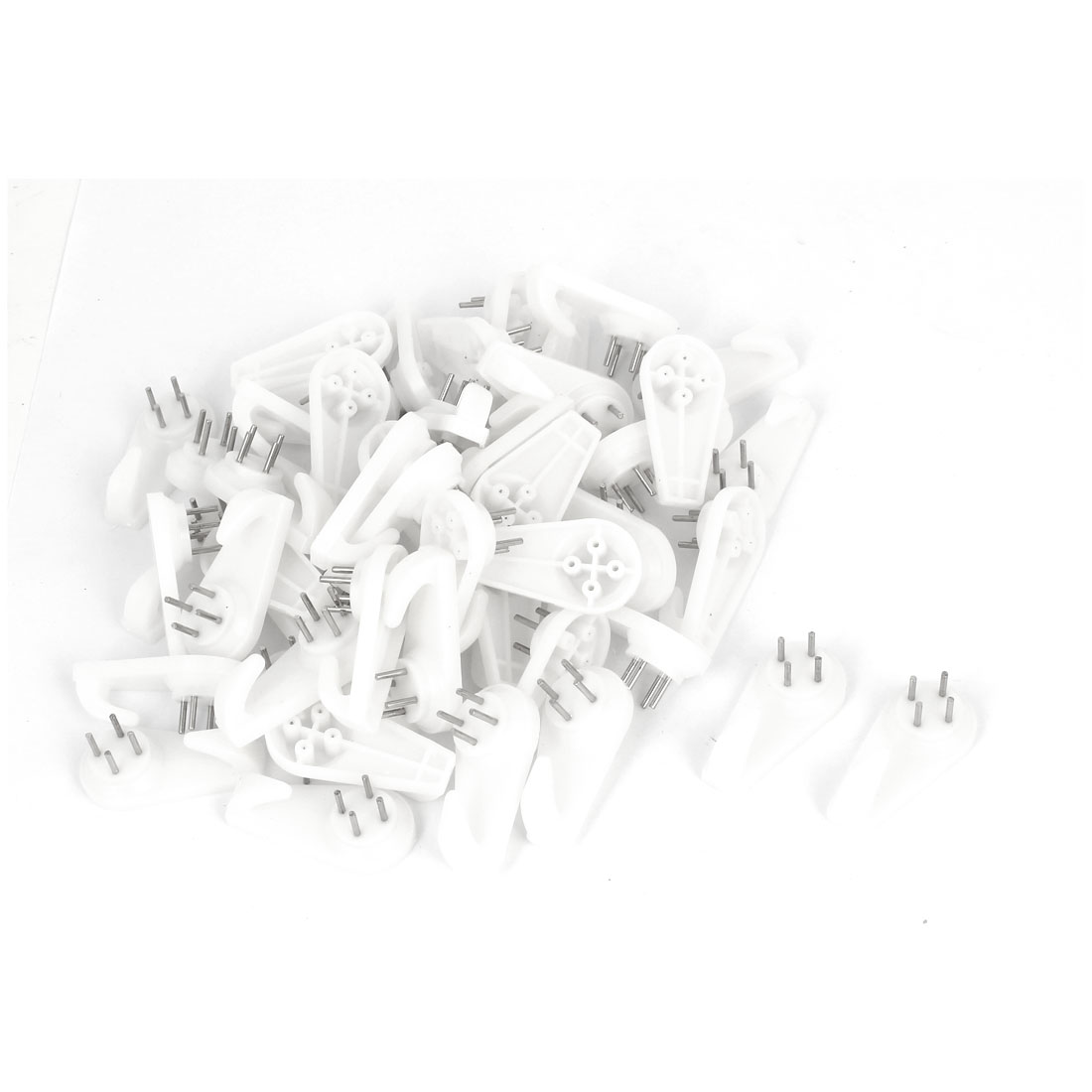 Picture Frame Plastic Wall Hook Seamless Nail White 40mmx20mm 50pcs