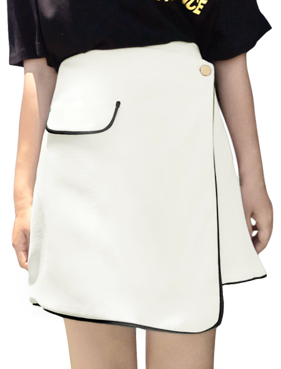 Women High Waist Contrast Color Trim Overlay Skirt White L