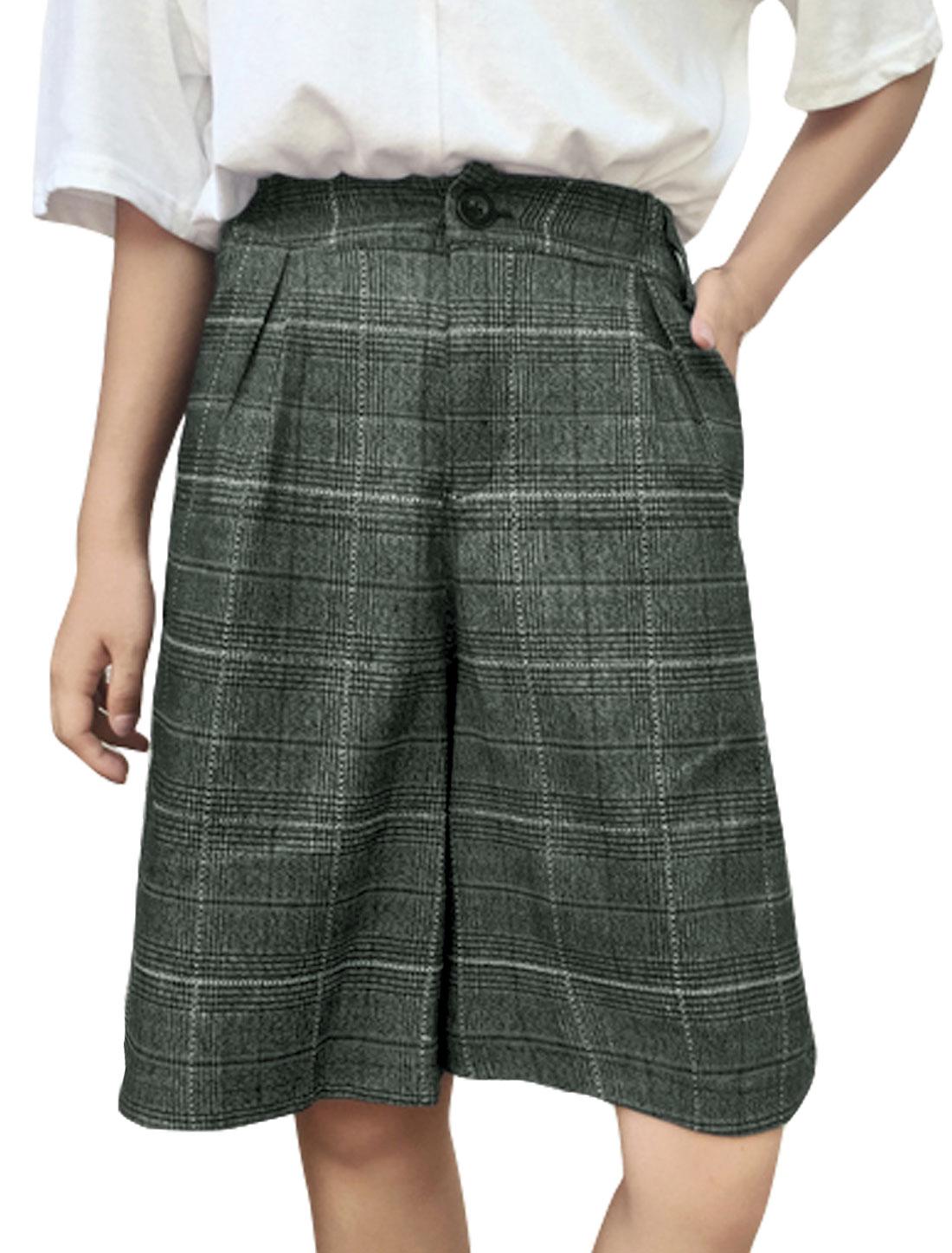 Women Checks Elastic High Waist Pockets Culotte Shorts Gray XS