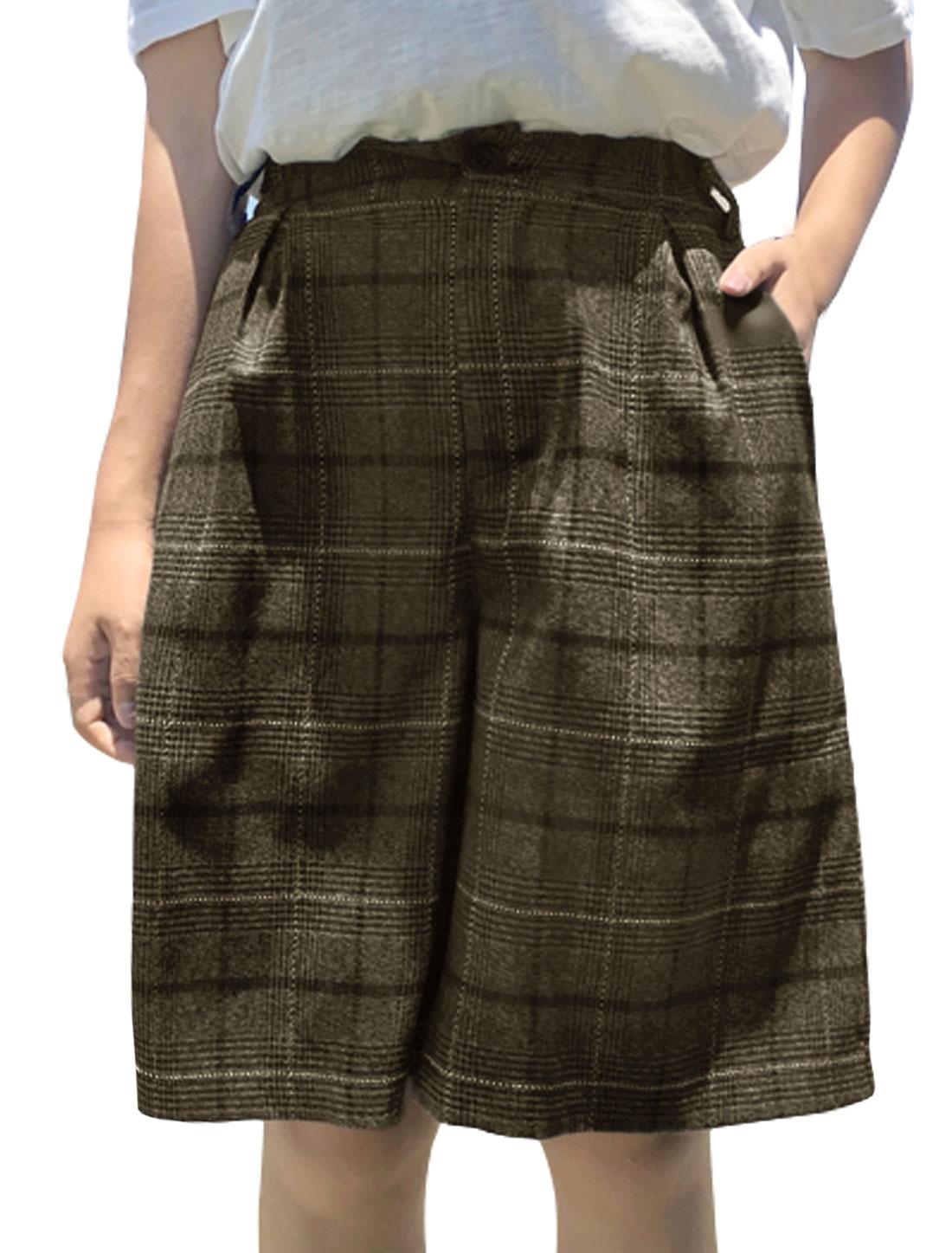 Women Checks Elastic High Waist Pockets Culotte Shorts Brown XS