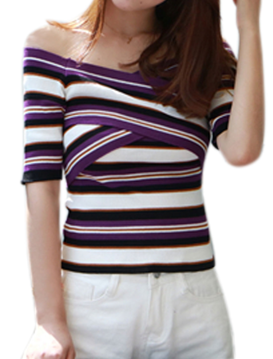 Women Off Shoulder Crossover V Neck Stripes Knit Top Purple XS