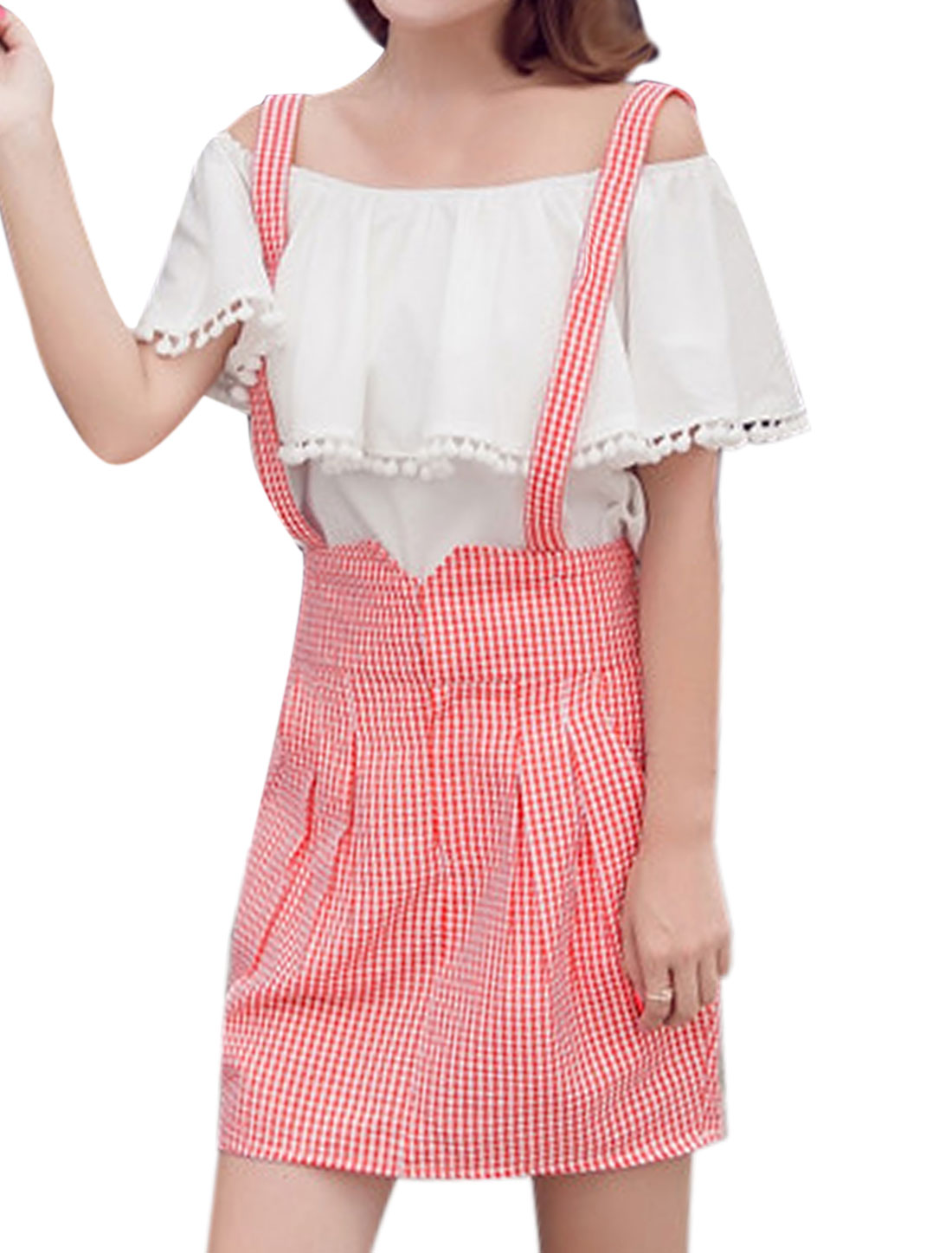 Women Plaids Detachable Straps A Line Suspender Skirt Red M