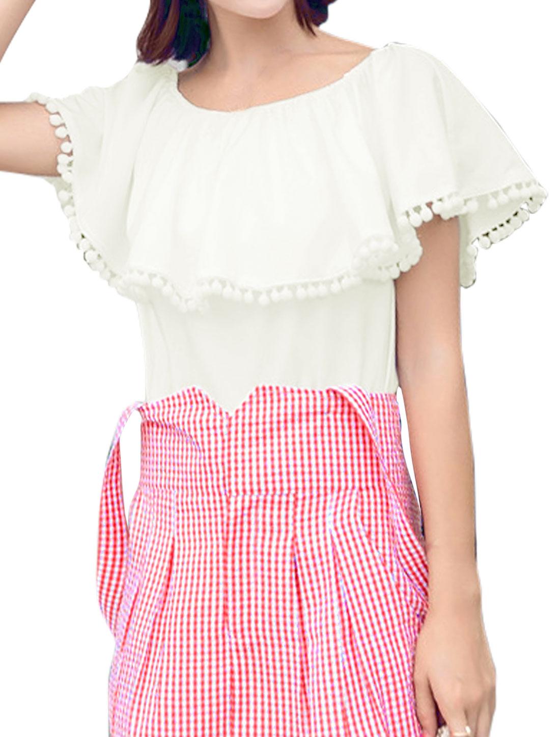 Women Flouncing Pom-Pom Elastic Upper Multi-Way Wearing Blouse White XS