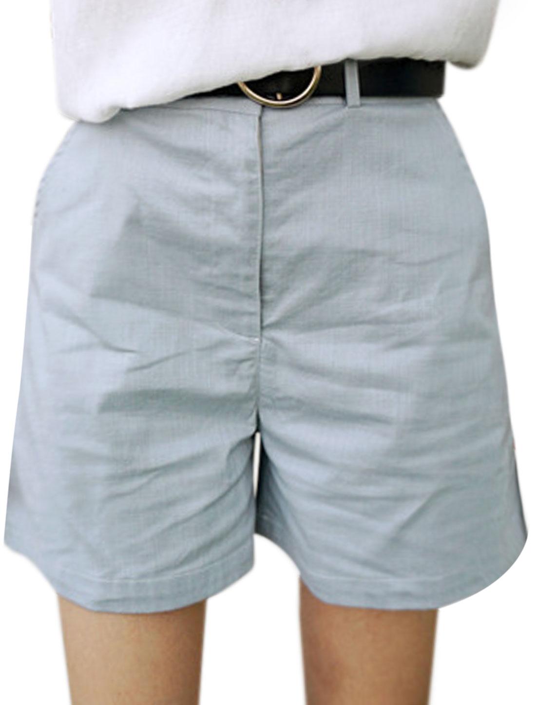 Women High Waist Pockets Zip Fly Straight Shorts Blue M