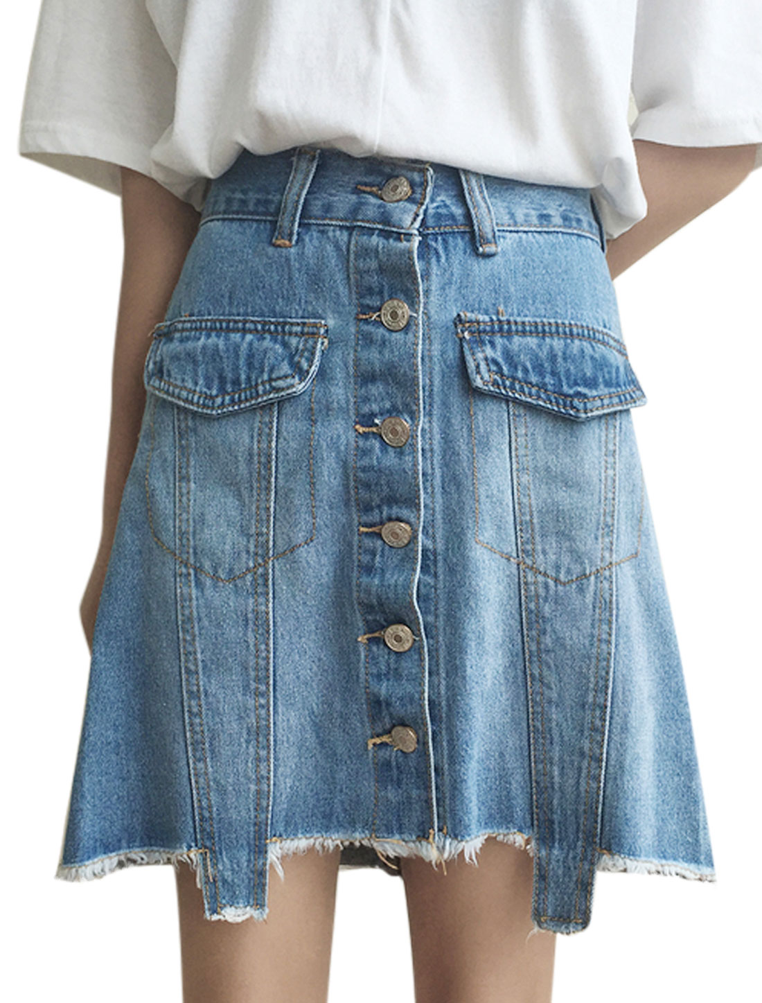 Women Frayed Hem Button Closure Front Denim A Line Skirt Blue M