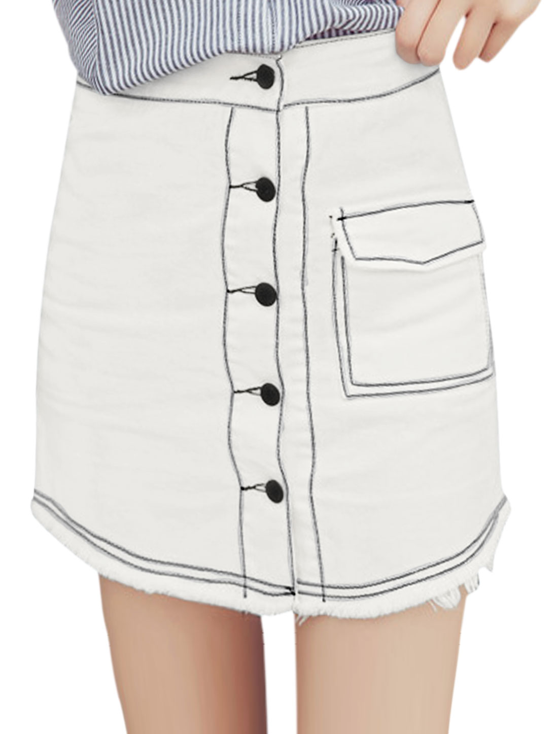 Women Single Breasted One Pocket Frag Hem Mini Denim Skirt White M