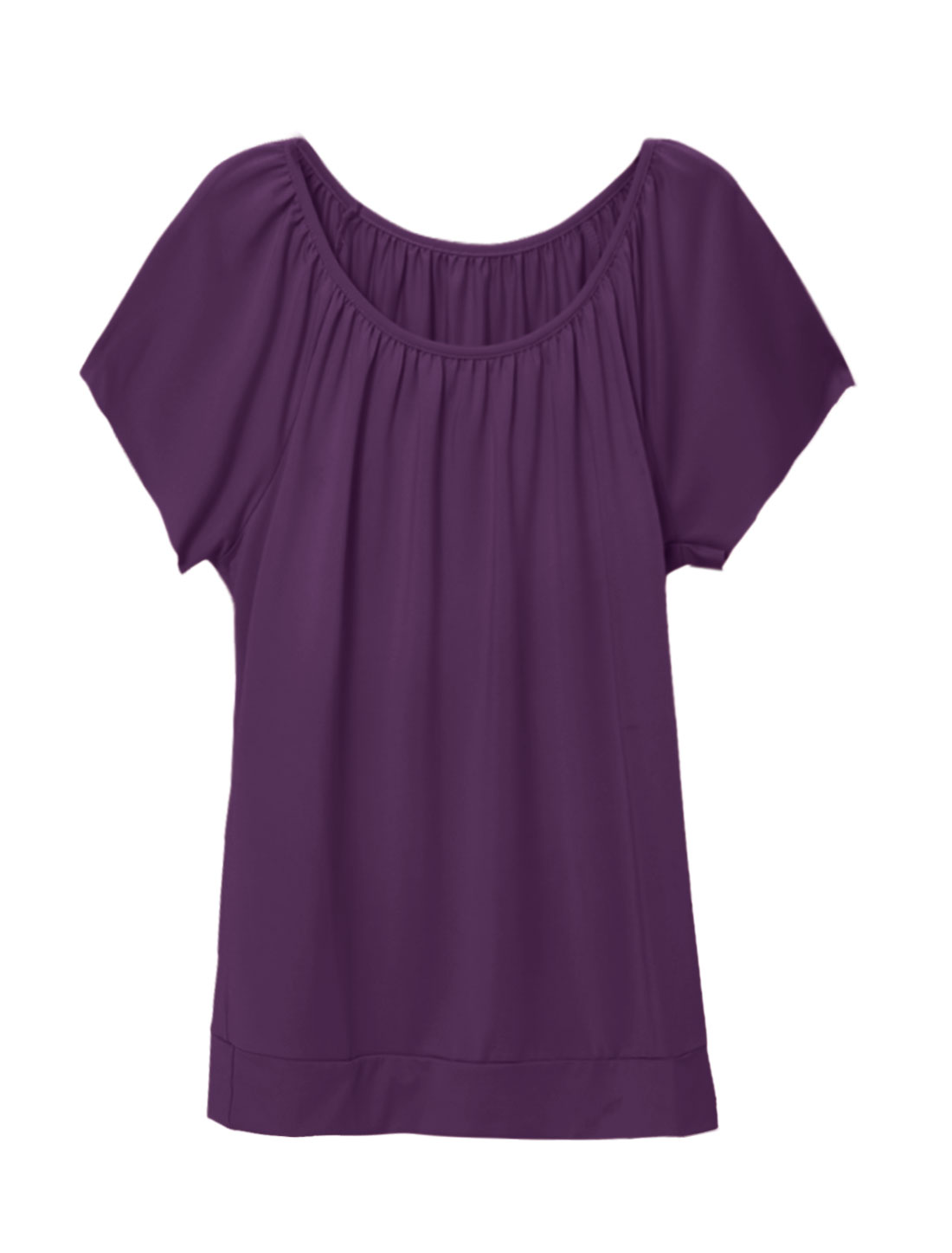 Women Round Neckline Raw Edge Raglan Sleeves Top Purple S