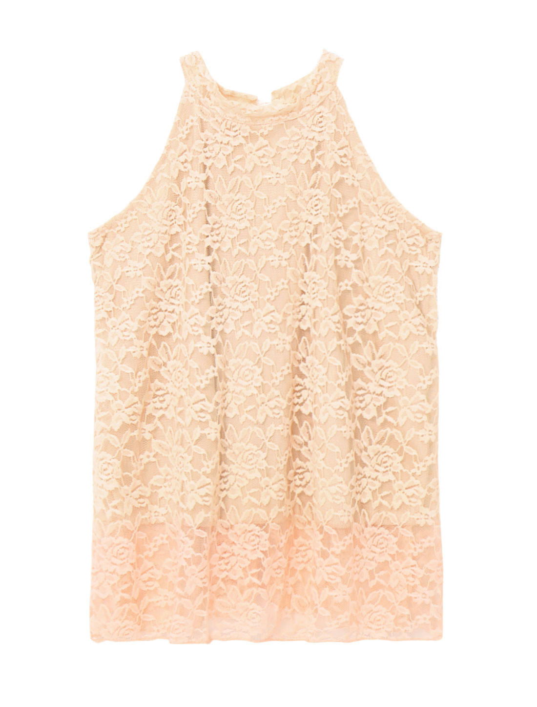 Women Halter Neckline Cut Out Sleeveless Lace Top Pink S