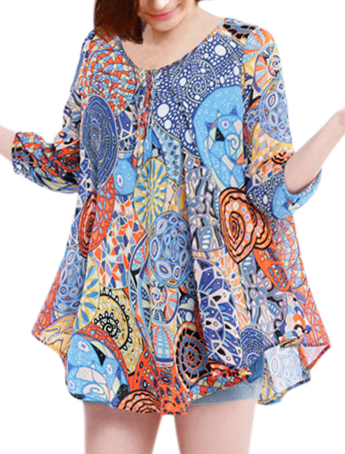 Women 3/4 Sleeve Novelty Prints Loose Tunic Boho Blouse Blue S